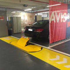 Automatic barrier installed in a parking lot